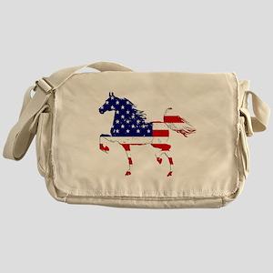 Patriotic American Gaited Horse Messenger Bag