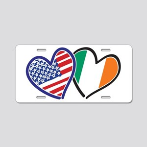 USA Ireland Heart Flags Aluminum License Plate