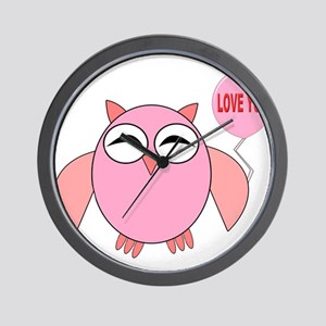 Cute Pink Owl Love You Balloon Wall Clock