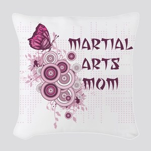 Martial Arts Mom Pink Butterfly Woven Throw Pillow