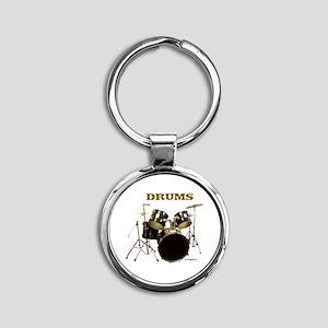 DRUMS Round Keychain