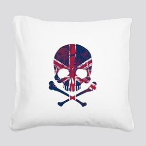 Union Jack Skull Square Canvas Pillow