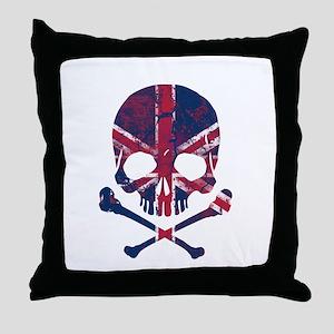 Union Jack Skull Throw Pillow