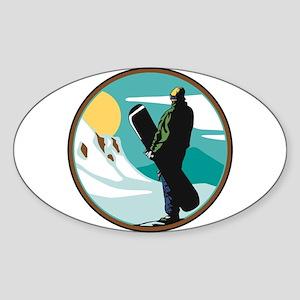 Snow Boarder Circle Design Oval Sticker
