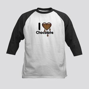 I Love Heart Chocolate Lover Kids Baseball Jersey