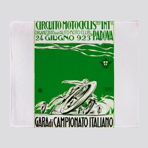 1923 Italian Motorcycle Race Poster Green Throw Bl