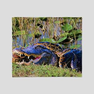 Everglades Alligator and Snake Throw Blanket