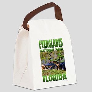 Everglades Alligator and Snake Canvas Lunch Bag