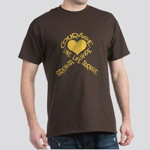 Gold Ribbon of Words Dark T-Shirt