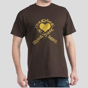 Gold Ribbon of Words Dark T-Shirt