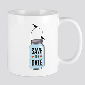 save the date with mason jar and birds Mug