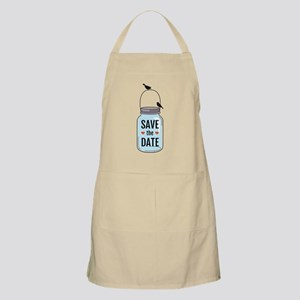 save the date with mason jar and birds Apron