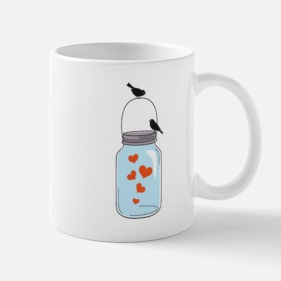 blue mason jar with red hearts and birds Mug