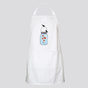 blue mason jar with red hearts and birds Apron