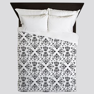 Black & White Damask #23 Queen Duvet