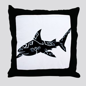 shark_BLACK Throw Pillow
