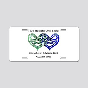 Two Hearts Aluminum License Plate