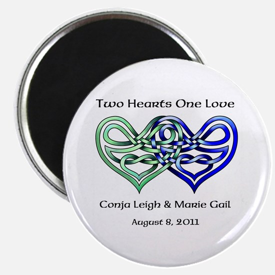 """Two Hearts 2.25"""" Magnet (10 pack)"""