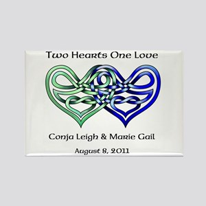Two Hearts Rectangle Magnet