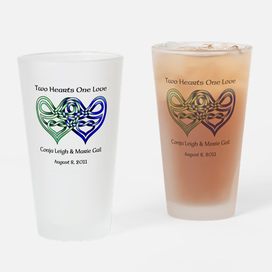 Two Hearts Drinking Glass