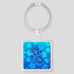 Blue Honu Hibiscus Keychains
