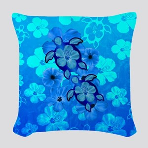 Blue Honu Hibiscus Woven Throw Pillow