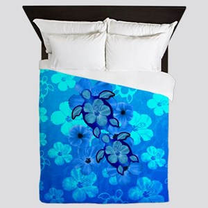 Blue Honu Hibiscus Queen Duvet