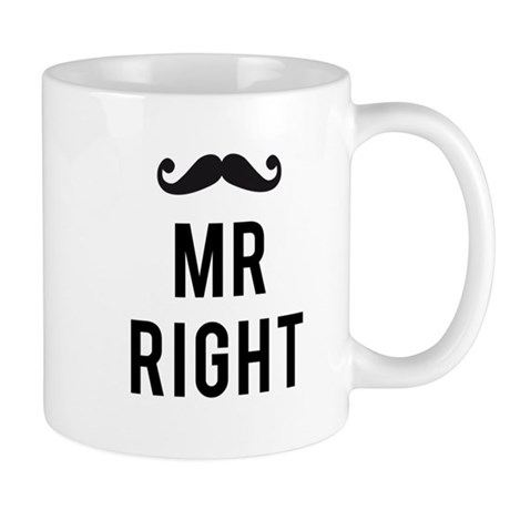 Mr. right text design with mustache Mug