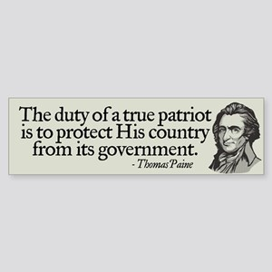 Paine on Patriotism Bumper Sticker