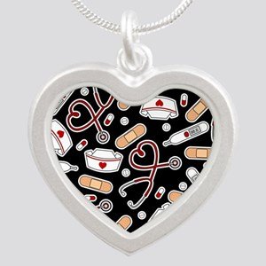 Cute Nurse Supplies Print - Black Necklaces