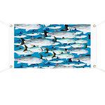 Montauk School of Fish Attack pattern 1 sq Banner