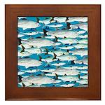 Montauk School of Fish Attack pattern 1 sq Framed