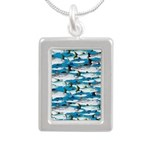 Montauk School of Fish Attack pattern 1 sq Necklac