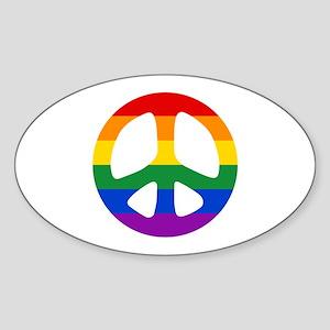 Rainbow Flag Peace Sticker (Oval)