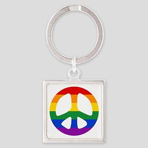 Rainbow Flag Peace Square Keychain