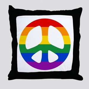 Rainbow Flag Peace Throw Pillow