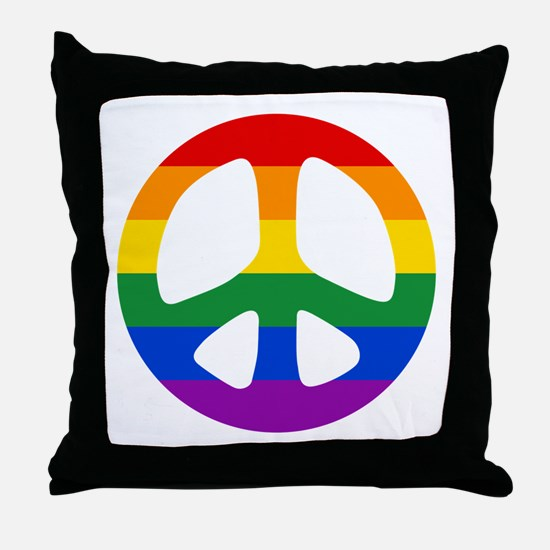 Rainbow Flag Peace Throw Pillow