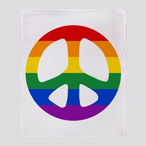 Rainbow Flag Peace Throw Blanket