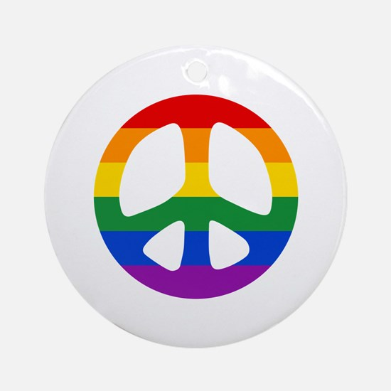 Rainbow Flag Peace Ornament (Round)