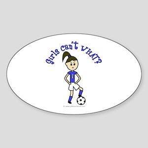 Light Blue Soccer Oval Sticker
