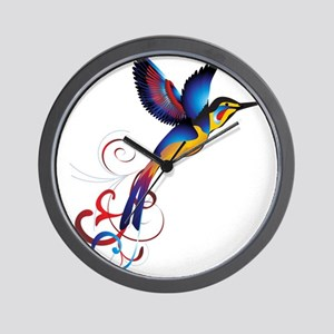 Colorful Hummingbird Wall Clock