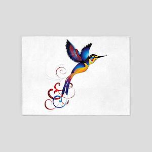 Colorful Hummingbird 5'x7'Area Rug