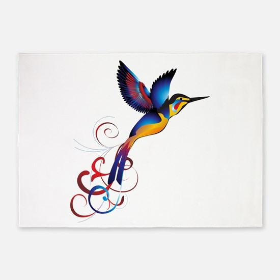Colorful Hummingbird 5'x7'Area Rug