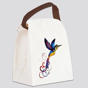 Colorful Hummingbird Canvas Lunch Bag