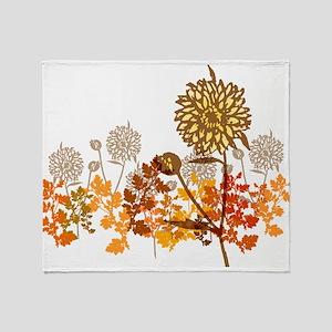 Autumn Crysanthemum Throw Blanket