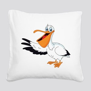 White Pelican Square Canvas Pillow