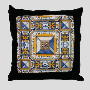 Azulejo Azul e Amarelo Throw Pillow