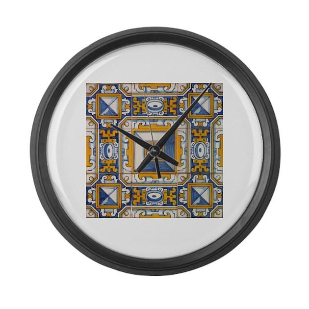 Azulejo azul e amarelo large wall clock by azulejo for Azulejo azul