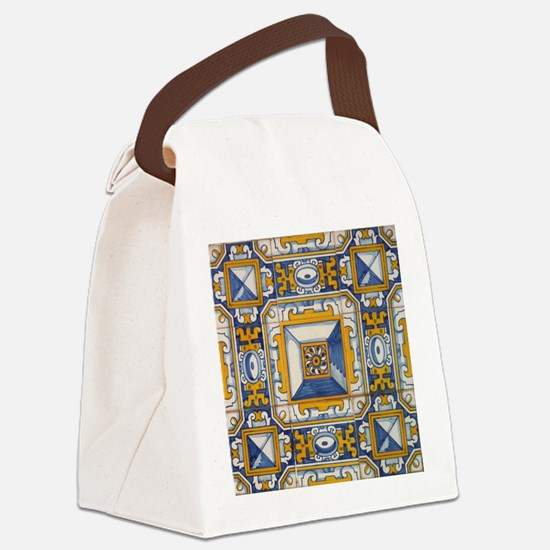 Azulejo Azul e Amarelo Canvas Lunch Bag