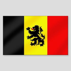 Rampant Lion Belgian Flag Sticker (Rectangle)